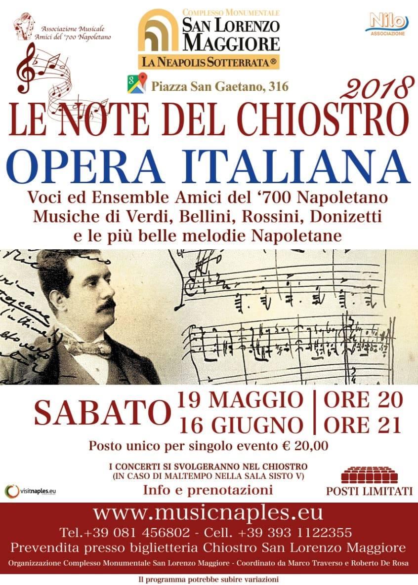 """L'opera italiana alla rassegna   """"Le Note del Chiostro"""" nel complesso Monumentale di San Lorenzo Maggiore"""