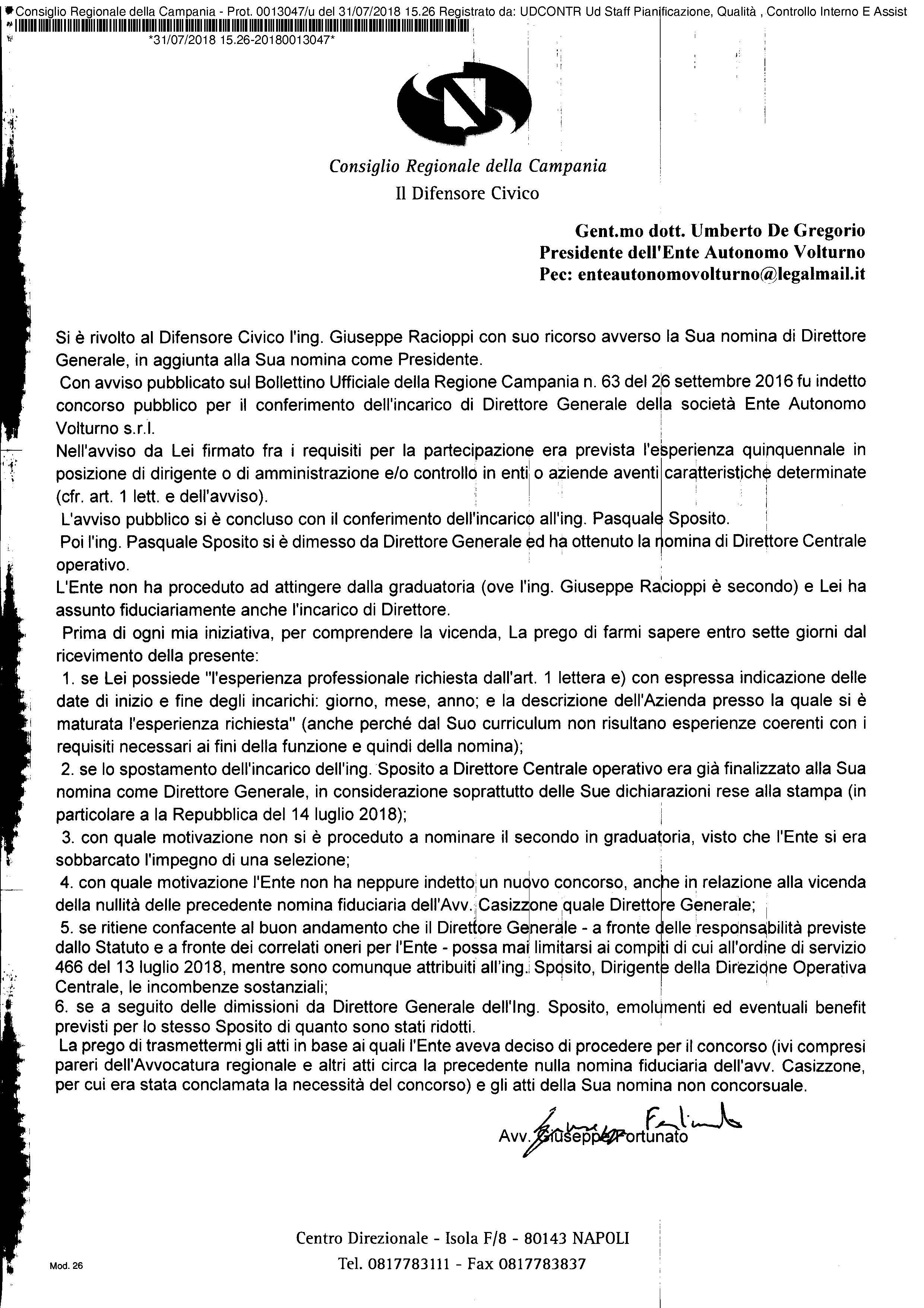 Difensore Civico Regione Campania - Ente Autonomo Volturno e il pasticcio della presidenza